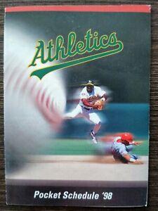 1998 Oakland Athletics Pocket Schedule sponsored by KRON Miguel Tejada