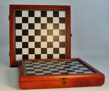 "CHERRY STAIN CHESS CASE - 15½"" - 1½"" SQ's METALLIC COLORED BOARD (ww 40394cct)"