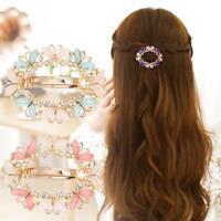 Women Girls Crystal Rhinestone Flower Barrette Hair Clip Clamp Hairpin UK