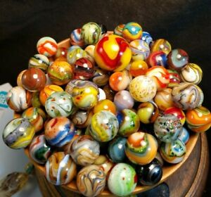 VINTAGE GLASS MARBLES JABO & SAMMY'S PEE WEE 106 MARBLE COLLECTION RARE 1/2 INCH