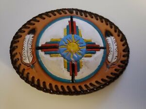 "Vintage Hand Stitched & Hand Painted Leather Belt Buckle 4-1/2"" X 3-1/4"""