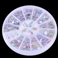 3 Boxes Nail Art Rhinestones Glitter Diamond Gems 3D Tips DIY Decoration Wheel