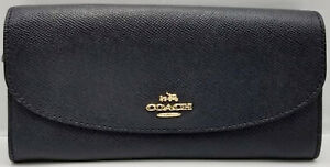 NWOT Coach F59949 Dark Navy Leather Soft / Slim Wallet, Gold Accents Authentic!