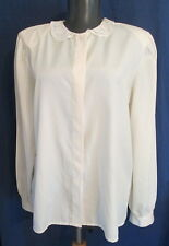 Country Suburban IVORY long sleeve poly blouse lace collar 14*FREE SHIPPING*Nice