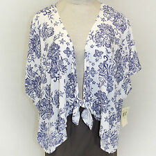 NEW NWT Eyeshadow Plus Size Tie Front Floral Print Lagenlook Cardigan Blouse 1X