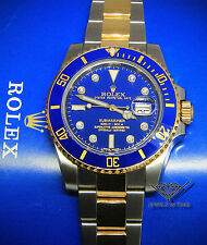 Rolex Submariner 18k Gold/Steel Blue Ceramic Diamond Watch Box/Papers 116613