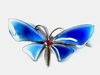 Vintage Large Silver Tone  Blue Glass Butterfly Moth Insect Brooch GIFT BOXED