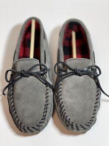 Minnetonka Double Bottom Fleece Moccasin Grey Slipper Mens Size 8 NIB
