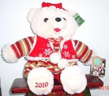 "2010 WalMART CHRISTMAS Snowflake TEDDY BEAR Beige Girl 20"" Red/Brown Dress NWT."