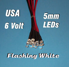 10 FLASHING LEDS 5mm PRE WIRED 6 VOLT WHITE 6V BLINK