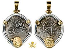 "PERU 2 REALES 1707 ""PRINCESS LOUISA 1743 SHIPWRECK"" 14KT BEZEL PIRATE GOLD COINS"