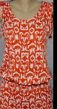 Michael Kors Aztec Tribal Print Drop Waist Dress Size L Orange/White Sleeveless