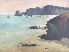 La Pointe du Tas de Pois FINISTÈRE peinture sur toile signé Lucien HONORE XXème