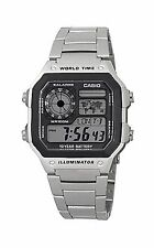 Casio 100M Square Stainless Steel Digital Sports 5 ALARMS AE-1200WHD-1A