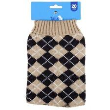 Tails Pet Jacket Knit Argyle Oatmeal 20cm