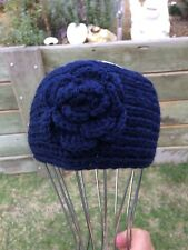 Women's Navy blue Knit Adjustable Headband Large Crocheted Flower Hairband