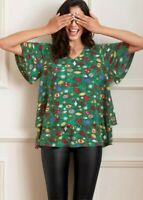 LADIES TOP T-SHIRT CHRISTMAS XMAS TREE TOP QUALITY TUNIC WIDE SLEEVE PLUS SIZE