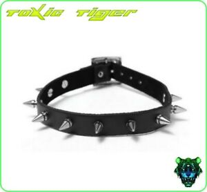 Black Faux Leather Spiked Necklace Goth Collar Emo party Punk Choker costume