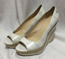 Calvin Klein Patent Leather Wedges Heels Espadrilles White 9.5 Women's Shoes