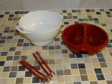 Tupperware Allegra C 169 Micro, Servier & Dip mit 4 Stochern weiß-rot NEU