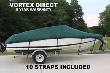 NEW VORTEX HEAVY DUTY FISHING/SKI/RUNABOUT/BOAT COVER  12 - 14 FT GREEN