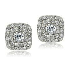 Sterling Silver Cubic Zirconia Square Stud Earrings