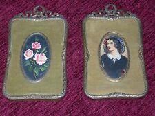 Lotto coppia di antichi Quadri quadretti miniature su velluto
