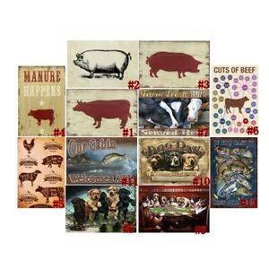 Retro Metal Tin Signs Cuts of Beef Vintage Plate Farm Art Wall Decor 7.8*11.8""