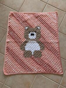 Handmade Crochet Soft Peach Striped Teddy Bear  Baby Blanket