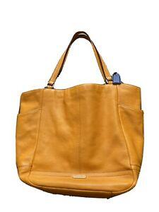 COACH Orange Carrie F23284 Pebbled Leather Large Tote Bag Purse Handbag Shoulder