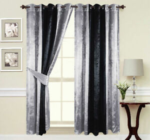Curtains Ring Top Eyelet Ready Made Lined Thick Crushed Velvet Silver Black