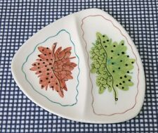 "Mid-century Italy ceramic 6½"" triangular divided nibbles olives dish leaf design"