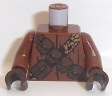 Lego SW Torso x 1 Dark Brown Pouches and Black and Gold Straps Pattern (Jawa)