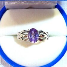 1.14ct Natural African Amethyst 925 Sterling Silver Solitaire Ring