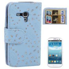 Flip Cover/Schutz-Hülle zu Samsung Galaxy S3 mini I8190 GLITTER BOOK Baby-Blau