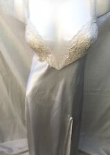 Vintage Victoria's Secret Sz S ivory Satin Embroidered Lace w Slit nightgown