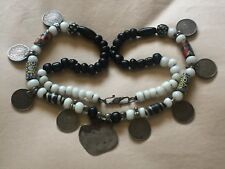 """Vintage Collectible Glass Beads INDIA Silver Rupee Necklace""""L@@K"""""""