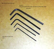 """One each .028"""" .035"""" .050"""" 1/16 5/64 SAE Hex Keys  Allen Wrench, Free Ship"""