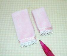 Miniature PINK Falcon Bath Towels, Set of 2 , Lace and Silk Trim: DOLLHOUSE 1:12