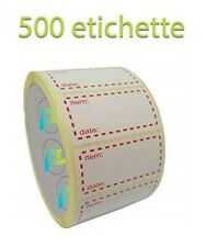 ❄500 ETICHETTE ADESIVE BIANCHE PER CONGELATORE 50x25mm ROTOLO ALIMENTI CONGELATI