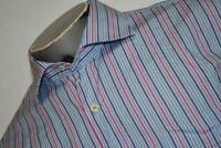 9178-a Mens Peter Millar Dress Shirt Size Large Blue Striped