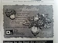 1957 DeMario Florentine mock Baroque pearls rhinestones pin earrings jewelry ad