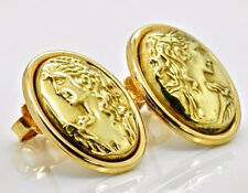 18k Yellow Gold Intaglio Oval Cameo Vintage Italian Etruscan Style Post Earrings