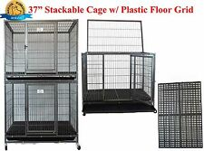 "New 37"" Homey Pet Metal Heavy Duty Dog Cat Cage Crate Kennel w Plastic Flooring"