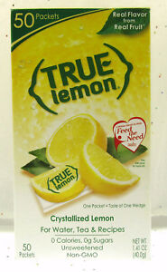 True Lemon ~ Crystallized Lemon ~  Real Flavor From Real Fruit ~ 50 Packets