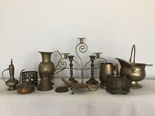 OnlyH Antique Brass and Bronze Items Candlestick, Jug, Box, Medal, Spoon, Knife