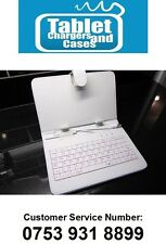 "White USB Keyboard PU Leather Carry Case/Stand for 7"" Prestigio Android Tablet"