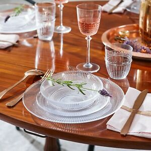 Luminarc Louison Clear 18pc Opal Glass Dinner Set Dinnerware Tableware Plates
