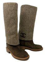 Authentic CHANEL G30 CC Logo Long Boots #36C US 5.5 Brown Suede Rank AB
