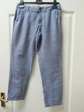 New FAT FACE Tapered Crop Chambray Cotton Linen Trousers Sz 8 Summer Pockets